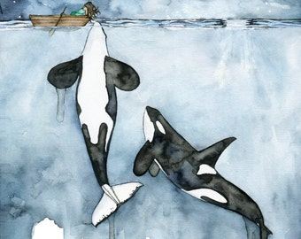 """XLARGE Watercolor Orca Painting - Sizes 16x20 and up, """"Poseidon's Touch"""", Whale Nursery, Whale Art, Whale Print, Orca Whale, Beach Decor"""