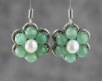 Jade flower dangle drop Earrings Bridesmaids gifts Free US Shipping handmade anni designs