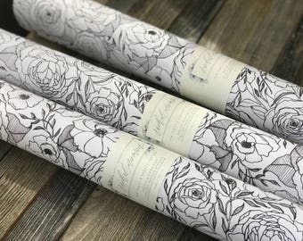"Floral Gift Wrap Sheets | Black & White | Wrapping Paper | 20""x29"" 