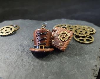 Earings Steampunk Polymer clay jewelry Couleur-lavande