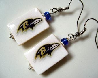 Baltimore Ravens. Pro Football. Bling Fanwear. Mother of Pearl Shell Earrings.Handmade.