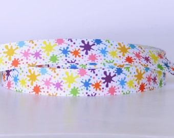 "Splash of Color Paint Splatter Printed Grosgrain Ribbon 1"" Scrapbooking HairBows Parties DIY Projects SC012318"