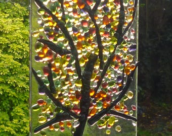 Yellow, Orange, Green, Red Tree Fused Glass Suncatcher. Gem Tree Suncatcher. Fused Glass Art. Wall Art.