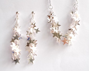 Silver Star. Necklace and Earrings Set. Sparkle. Tiny stars dangling sparkling.