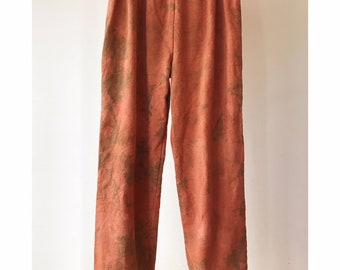 Hand Dyed Cotton Sweat Pants in Rose Clay, Anna Joyce, Portland, OR. Tie Dye, Terra Cotta, Cuffs