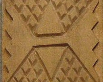 Oshiwa Carved Wood Printing Stamp, Tribal Design, 2.5''x 2.5'', Item 20-18-18