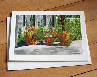 Flowers Greeting Card, Watercolor Card, Sunny Day Shadows, Blank Greeting Card, Note Card, Art Card, Any Occasion, Birthday Card, Painting