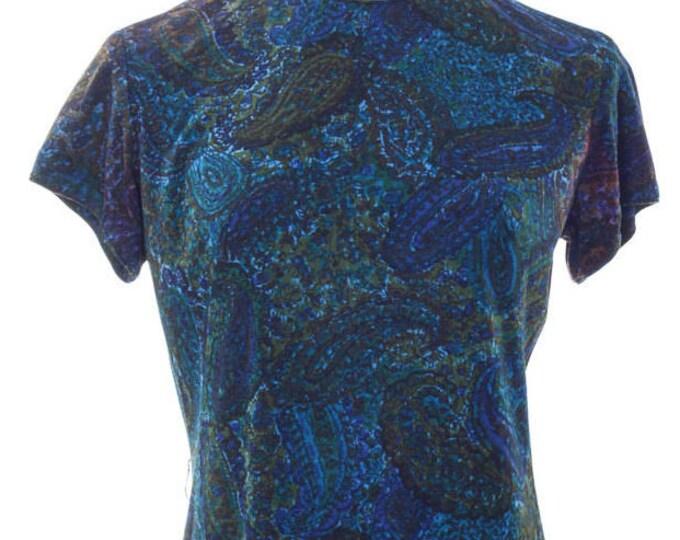 Medium Large 1970s Blue Vintage Paisley Dress 4AA