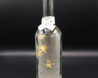 On your Wedding Day Glass Wine Bottle Decoration