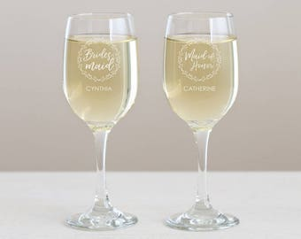Personalized Bridesmaid Wine Glass: Engraved Bridesmaid Wine Glass, Bridesmaid Gift Ideas, Personalized Bridesmaid Gift, SHIPS FAST
