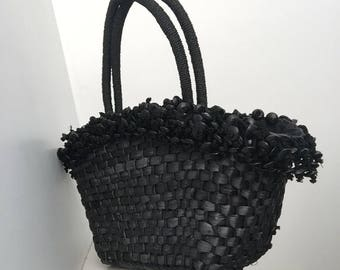 Black Woven Market Bag