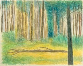 Fallen Tree original monotype print