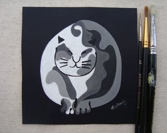 Chunky cat-Original painting-Tempera on cardboard-Oriental cat-feline art-Watercolor cat-Tuxedo cat-Original painting