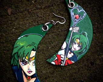 Sailor Pluto Earrings - Guardian of Space and Time - Sailor Pluto Outer Senshi hand-painted crescent moon earrings