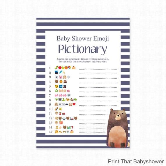 Baby Shower Game Blue Bear Shower Emoji Pictionary