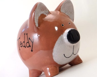 Teddy Bear Bank - Personalized Piggy Bank - Woodland Theme Bank - Brown Bear Piggy Bank -  Cute Forest Animal Bank - with hole or NO hole
