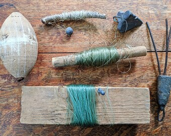 Vintage Fishing Tackle Australia Primitive Collection Fish Gear Hand Line Drop Line Cork Float Coastal Lake Cabin Decor Photography Prop