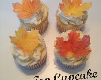 Beautiful Fall Leaf Edible Cupcake Toppers