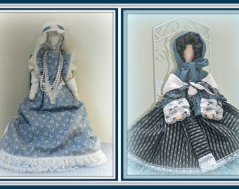 2 in 1 Rebecca and Blue Bell Sara, The Long Sleek Sitting Boudoir Doll! Faceless Colonial & Victorian Girl Retirement Dolls Combo E-Pattern