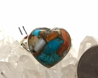 Spiny Oyster & Arizona Turquoise Heart Ring, Size 11