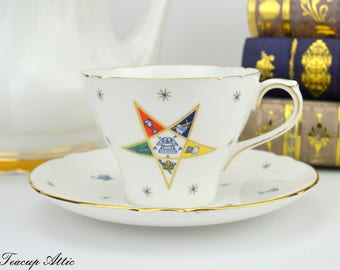 Shelley Order Of The Eastern Star Teacup And Saucer Set, English Bone China Tea Cup Set, Wedding Gift, ca. 1920