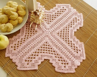 Square crochet doily Pink doilies Cotton crochet doilies Home decor Table embelishment Elegant decor Pink color doily 385