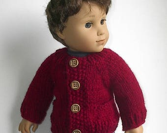"18"" Boy Doll Clothes Knit Cranberry Red Cardigan Sweater with Pockets Handmade Ato fit AG Boy Doll Logan and Other similar dolls"