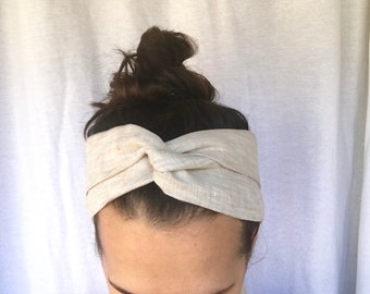 Hair scarf - Natural Linen bow -  boho headband - head scarf - head scarves for women - linen scarf