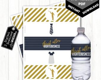 2018 Temple & Priesthood Prep Angel Moroni Water Bottle Labels | LDS Baptism Favor | 5 WaterBottle Template | Instant Download 8.5x11 PDF