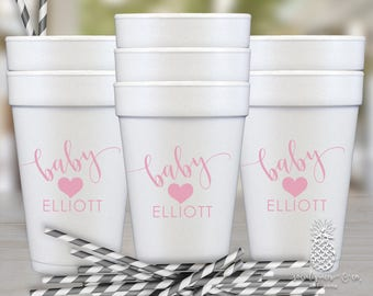 Heart Baby Shower Styrofoam Party Cups | social graces and co