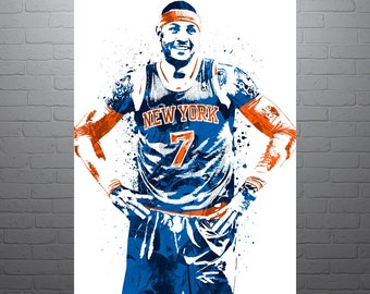 Carmelo Anthony New York Knicks, Sports Art Print, Basketball Poster, Kids Decor, Watercolor Contemporary Abstract Drawing Print, Modern Art