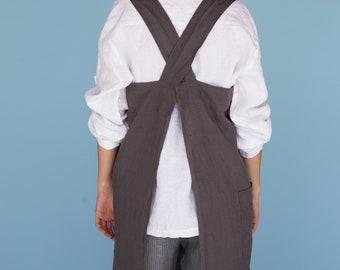 Linen cross back apron, Japanese style apron, Pinafore dress, Linen pinafore, Linen Japanese pinafore, Linen cross over apron, No ties apron
