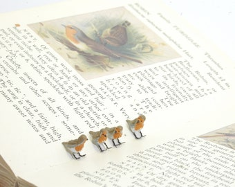 Single Bird European Robin - 1/12th dollshouse miniature bird