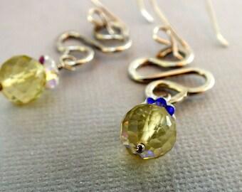 Lemon Quartz Faceted Sterling Silver Dangle Earrings
