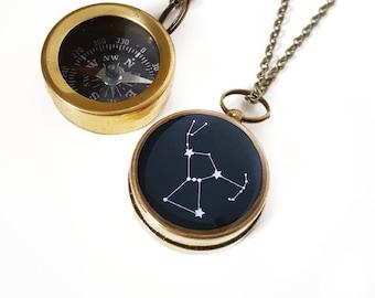 Orion Konstellation Halskette, kleine arbeiten, Kompass, Messing-Kette, Orion Schmuck, Sternbild Orion Halskette, Weihnachtsgeschenk