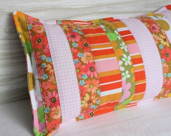 Pillow Patchwork Pink 12 x 20 Retro Floral Vintage Fabric Upcycled Gingham
