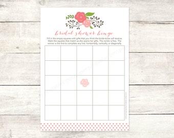 bridal shower bingo game card printable DIY pink bouquet wedding shower bingo pink polka dots bridal shower digital games - INSTANT DOWNLOAD