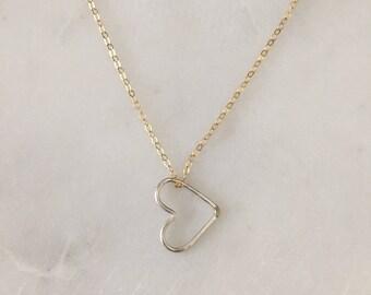 Schwebende Herz Halskette - Mixed Metal - 14k gold gefüllt - Sterling Silber