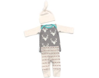 Newborn boy coming home outfit - deer - baby boy take home outfit - going home outfit - baby boy clothes - photo outfit - 0-3 months