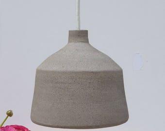 Pendant light, Light Gray stoneware bell, Hanging lamp.