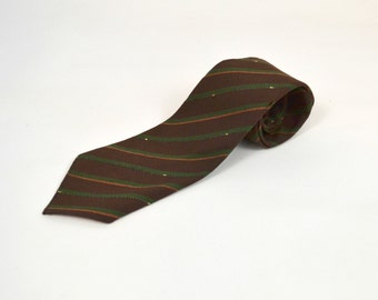 Vintage Chocolate Brown Striped Wool Tie by The Halle Bros. Co.