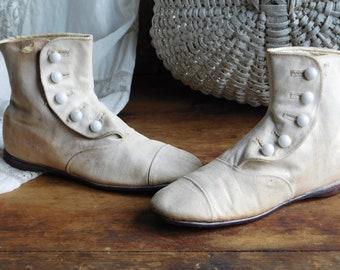 Antique Children's White Canvas Button Up Boots, Victorian, Edwardian