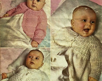 PDF Knitting Pattern , 5Ply, Three Matinee Coats up to 6 months