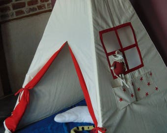 Teepee tent, cabin, cottage kids red stars.