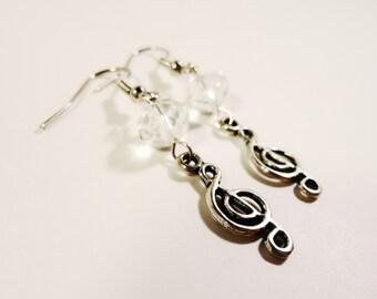 Music Note Earrings, Clear Crystal Earrings, Beaded Dangle Earrings, Antique Silver Earrings, Clef Note Earrings, Beadwork Jewelry