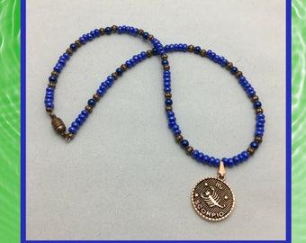 Scorpio Necklace, Blue Scorpio Necklace, Scorpio jewelry, Copper Scorpio pendant, Unique Gift ideas, Birthday gift