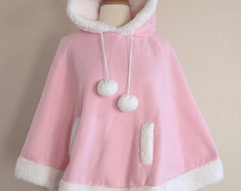 SHOP SALE Pink Hooded Poncho Cape - Pink Christmas - Size Small