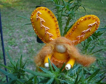 Yellow Wool Felt Fairy, Peg Doll Fairy, Waldorf Inspired, One of a Kind, Miniature Fairy Peg Doll