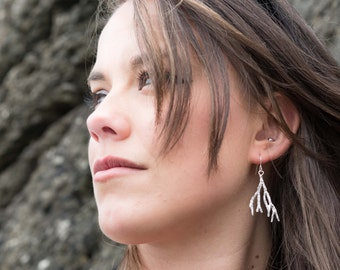 Silver Dangle Earrings, Sea Frond Earrings, Solid Silver Seaweed Dangle Earrings, Beach Jewellery, Gift for Her, Recycled Silver, Saw Wrack