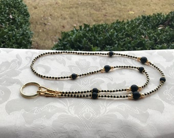 Black and Gold ID Badge Lanyard Lightweight Beaded Chain ID Badge Holder